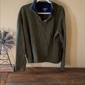 Men's Olive Green Quarter Zip Sweater